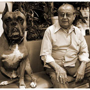 Dog and Owner, Barbershop Duo, Rocky and Balboa, Jersey City, NJ 1998