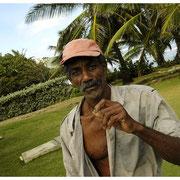 Man Selling Coconuts by Bathsheba, Barbados Island Safari Tour 2004