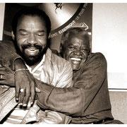 """Bear Hugs Between Takes"", Hubert Laws and Stanley Turrentine (1934-2000) Edison Recording Studios, NYC 1993"