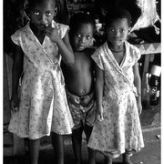 Market Children, 3 Children on display at the Victoria Street Market,  Durban, SA 2003