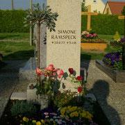 Einzelgrabstein Jura Kalkstein Lebensbaum Bronze Friedhof Petersaurach