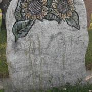 Einzelstein Mit Sonnenblumen Wiscount weiss