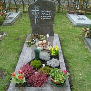 Einzelgrab Blue Antique mit Teilabdeckung Waldfriedhof Ansbach