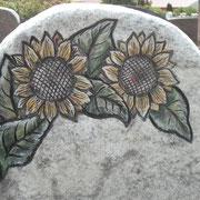 Sonnenblumen Motiv auf Wiscount white