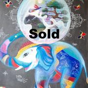 """""""Elefant"""" Acryl, Mixed Media 80x100"""