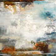 Aus dem Nichts 6, Acryl, Sandstruktur, Kohle, Marmohrmehl, Kaffeesatz auf Leinwand. Galeriekeilrahmen 02/2015