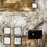Planung 3, 50x50cm,  Acryl, Leichtstruktur auf Leinwand mit Blattsilber veredelt. Galeriekeilrahmen 03/2015