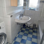 Das Bad mit Dusche, Badewanne und Waschmaschine