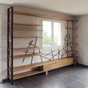 bibliothèque métal bois sur mesure