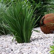 Vorgarten, Kies, Gräser, Gestaltung, angerostete Design Kugel