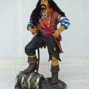 pirata con barril y pañuelo