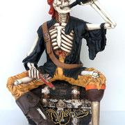 esqueleto sentado bebiendo