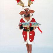 reno con caja de navidad