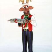 reno con caja navideña