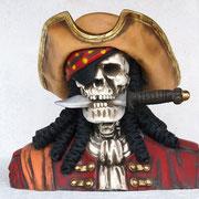 cabeza esqueleto pirata con cuchillo