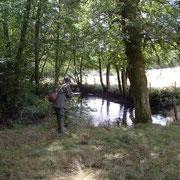 Pêcheur à la truite sur la Soudaine