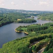 Vue aérienne du barrage des Bariousses (© F. HAMELOT)