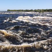 Chutes d'eau de Kukkolaforsen (15 km au nord d'Happarenda; ville frontière avec la Finlande)