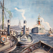 Ruderboot am See, Aquarell P. Friedrichsen