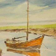 """""""Ankerndes Boot im Alten Land"""" Aquarell P. Friedrichsen"""