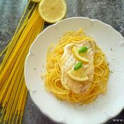 Spaghetti, Kabeljau Filet und Zitrone.