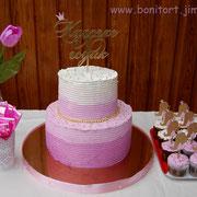 """Торт без мастики в стиле Омбре """"Розовый и золото"""". Топперы от мамы именинницы. Вес 6кг"""