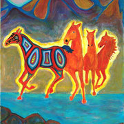 "Spirit Horses;The Shaman's Colt, acrylic on canvasette paper, 30x24"" framed"