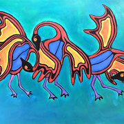 Three Geese Dancing, acrylic on canvas, 24 x 30