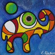 """Edda Clasen, """"Mirófanti azul"""", 30 x 30 cm"""