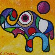 "Edda Clasen, ""Mirófanti amarillo"", 30 x 30 cm"