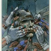 """Enki Bilal : Couverture originale pour la réédition """"Exterminateur 17"""" de Dionnet et Bilal (c)Casterman"""