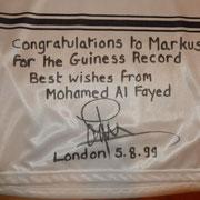 Widmung von Mohammed Al-Fayed!