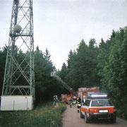 Person auf Funkmast in Schnarrtanne                                                   Foto: B.Seidel