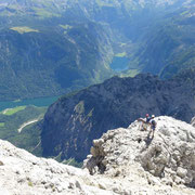 der steile Abstier in' Wimbachgries beginnt