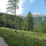 der Weg vom Wimbachgries Parkplatz zum Watzmannhaus