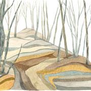 「山のすきま」 Watercolor. 2019  Private collection.