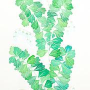 「夏の草」 Watercolor. 2015 Private collection.