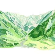 「立山連峰をのぞむ」  Watercolor. 2016 Private collection.