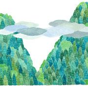 「里山」  Watercolor. 2017  Private collection.