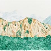 「霧、立ち込める」  Watercolor. 2017