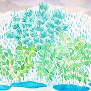 「雨の庭」 Watercolor. 2015