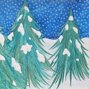 「冬の森に雪が降る」 Watercolor. 2016