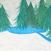 「曇りの森」 Watercolor. 2016