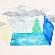 「箱庭」  Watercolor. 2015