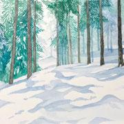 「冬の山道」  Watercolor. 2017