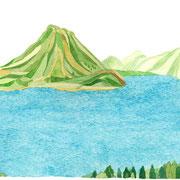 「春と湖」  Watercolor. 2017 Private collection.