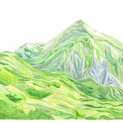 「稜線へ」 Watercolor. 2019