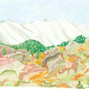 「秋の雪」 Watercolor. 2017