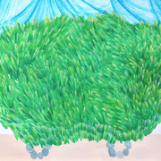 「Grass car.」 Watercolor. 2015
