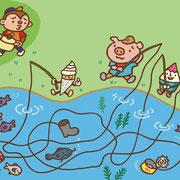 幼稚園配布用 雑誌月刊スキップ2012年8月号 しかけ絵物語ページ(絵と文)※画像は絵のみ 販元 メイト